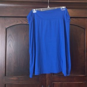 Bright blue knit cotton skirt