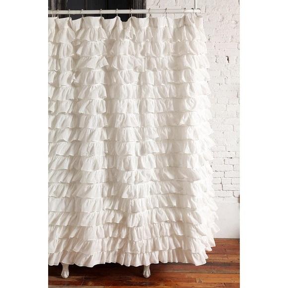 UO Ivory Waterfall Ruffle Shower Curtain M 58275e38a88e7d08fe03a77b