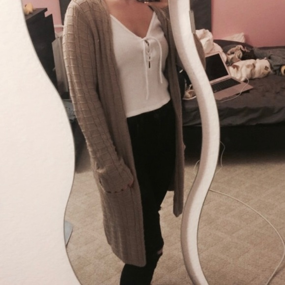 85% off Sweaters - Beige long thick cardigan from Natalie's closet ...