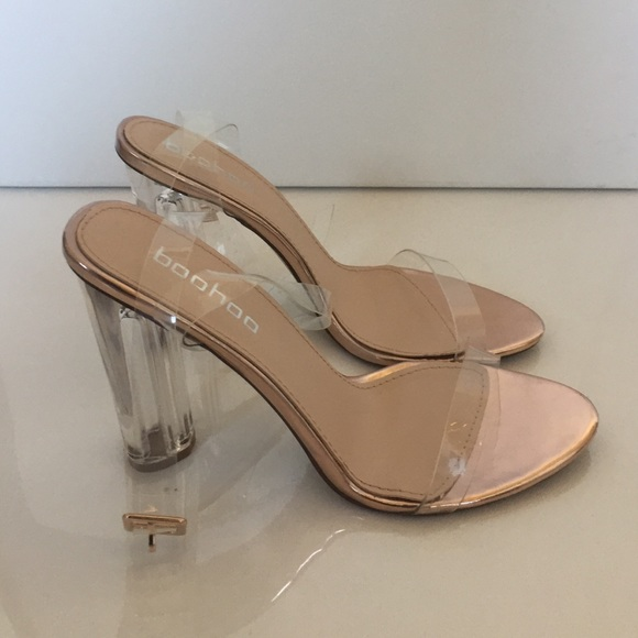 42e4780624ef Boohoo Shoes - Bella Metallic Clear Cylinder Two Part Heels