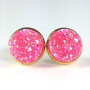 thejeweladdict Jewelry - 3 for 15🎀bright pink faux druzy gold studs