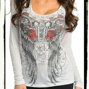 Tops - New White WINGED PISTOLS Rhinestone HOODIE Top