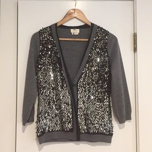 ♠️ kate spade ♠️ gray wool cardigan with sequins