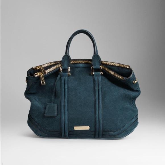 44914576a239 Burberry Handbags - Burberry large suede Wallis bag indigo green