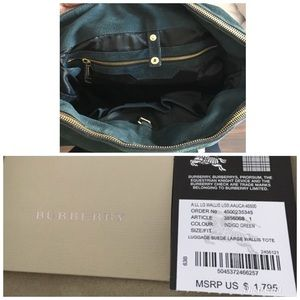 Burberry Bags - Burberry large suede Wallis bag indigo green 94923b95a613c