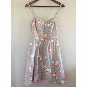 Grey and Pastel Floral Dress
