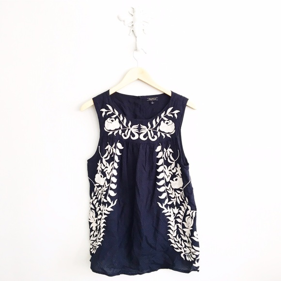30830abbc057 Lucky Brand Tops - Lucky Brand Navy Floral Embroidered Tank Top