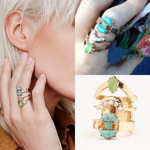 Free People Jewelry - NWOT free people rising tide ring 6 green stack