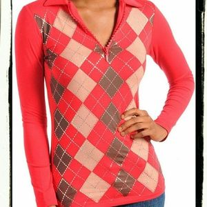 Tops - New ARGYLE Half Zip Long Sleeve Top