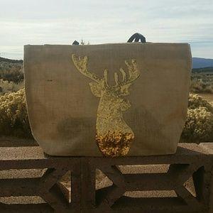 << Sequin Deer Big Bag Tote Canvas Purse >>