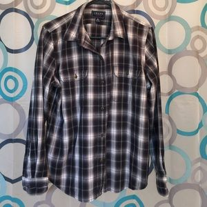 Chaps Tops - Chaps black and white plaid top button up XL