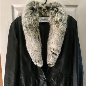 Genuine leather & fox fur jacket