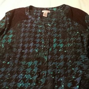 Catherines Tops - Teal and Blue Haring Bone Pattern Tunic Size 3x