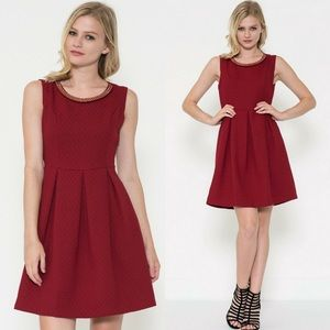 ‼️SALE‼️Neckline Trim Pleated Skater Dress