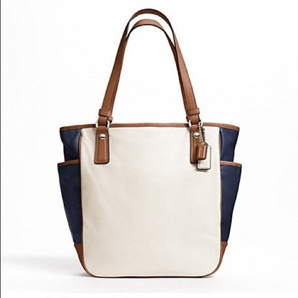 83% off Coach Handbags - 👜Coach | Navy/White/Tan Color Block ...
