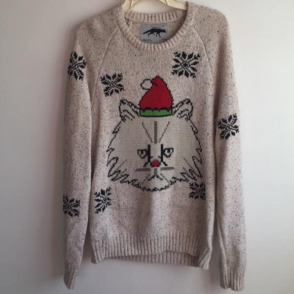 grumpy cat ugly christmas sweater size m