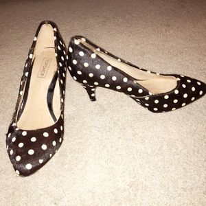 Topshop Shoes - Topshop Polkadot Calf Hair 2 1/2 Inch Heels