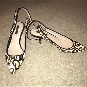 Zara Shoes - Zara Leopard Print Slingbacks With Kitten Heel