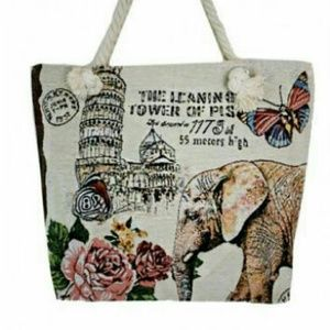 LEANING TOWER OF PISA AND ELEPHANT TAPESTRY TOTE