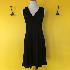 INC black v-neck dress with ruffle detail