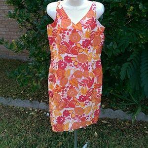 Bob Mackie Dresses & Skirts - White and Orange Fitted Shift Dress