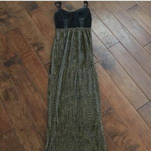 Lush Dresses & Skirts - Gold Sheer Bustier Dress