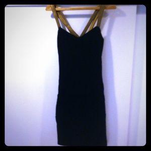 Black Velvet Cocktail Dress/Gold Crossback Straps