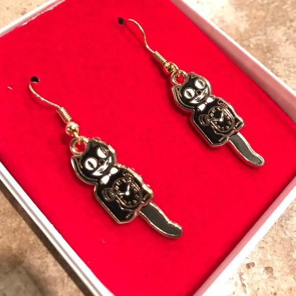 Kit Cat Jewelry - NIB Kit-Cat Clock enamel earrings - hinged tail!