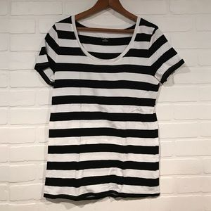 Black and white stripe scoopneck tee Merona sz L