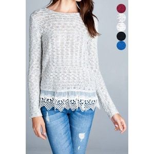Hannah Beury Sweaters - LAST ONE!! Sweater Top with Lace Detail