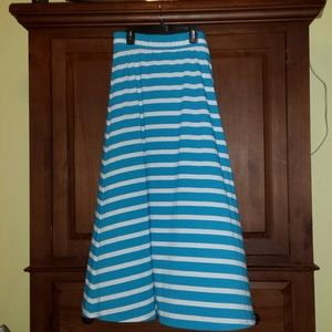 Turquoise and white skirt