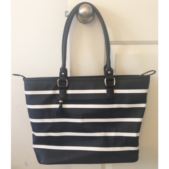 50% off JustFab Handbags - Black and white striped tote from ...