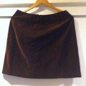 Brown Velvet Mini Skirt