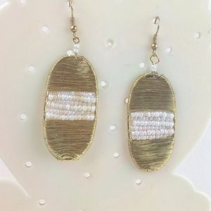 gold wire wrapped oval earrings w pearls