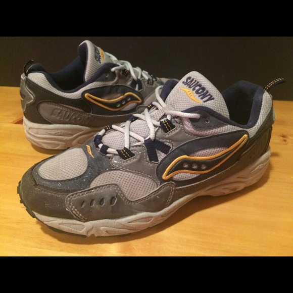 904e006d Women's Size 10 Saucony Blue, Yellow & Gray Shoes