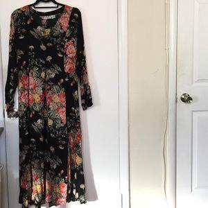 VINTAGE floral long sleeved dress (L) ✨