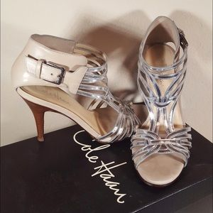 Cole Haan metallic caged leather heeled sandals!