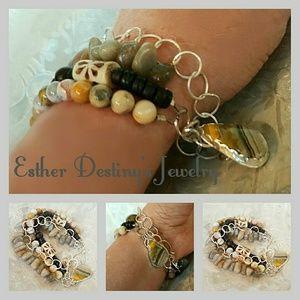 Jewelry - Boho Rare Bumblebee Jasper 4 Strand Bangle