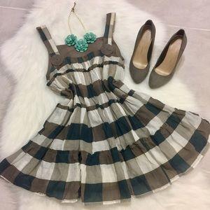 Grey & Green Checked Ruffle Dress, size small