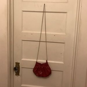 Red Faux Leather Cross Body Bag with Metal Chain
