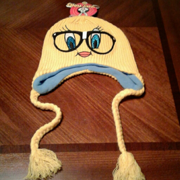 TWEETY BIRD TODDLERS  WINTER BEANIE CAP /& MITTEN SET NWT