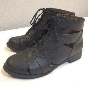 Shoes - Black cutout lace up booties NWOT