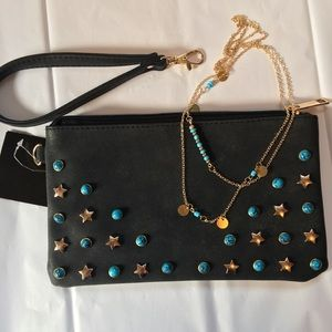 Stars and Turquoise clutch with Free Necklace