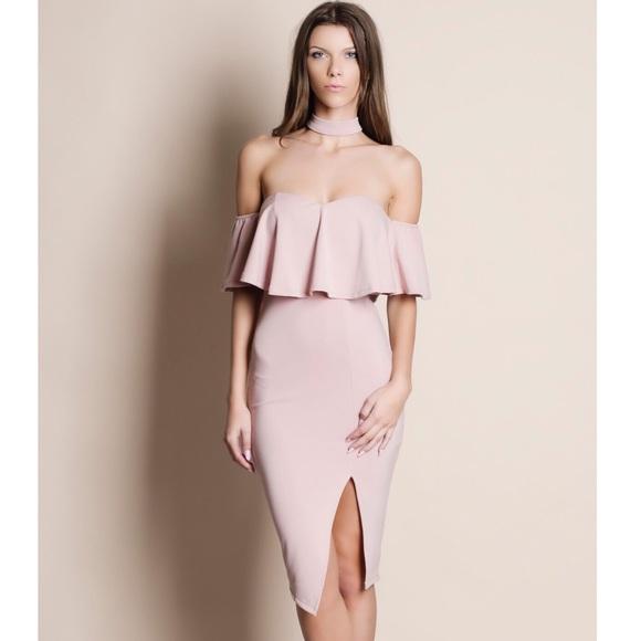 Bare Anthology Dresses & Skirts - Peonies Blush Off Shoulder Choker Dress