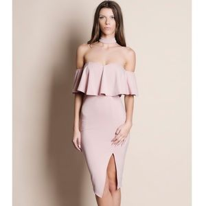 NBF ❤️ Peonies Blush Off Shoulder Choker Dress