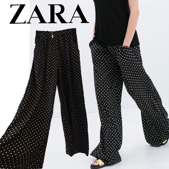 72% off Zara Pants - Zara wide-leg, black & white polka dots pants ...