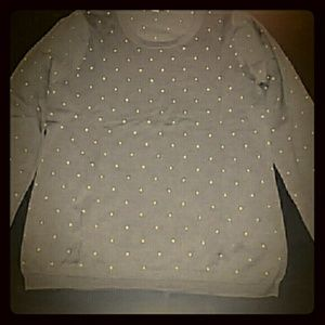 Garnet Hill   Sweaters - Soft brown sweater with blue dots, Garnet Hill M