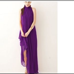 Purple One Size Chiffon Dress