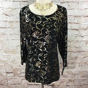 JM Collection- Blk/Gold Jacquard Print Top