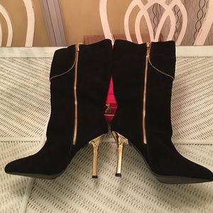 Shoes - Black Suede Tall Boots